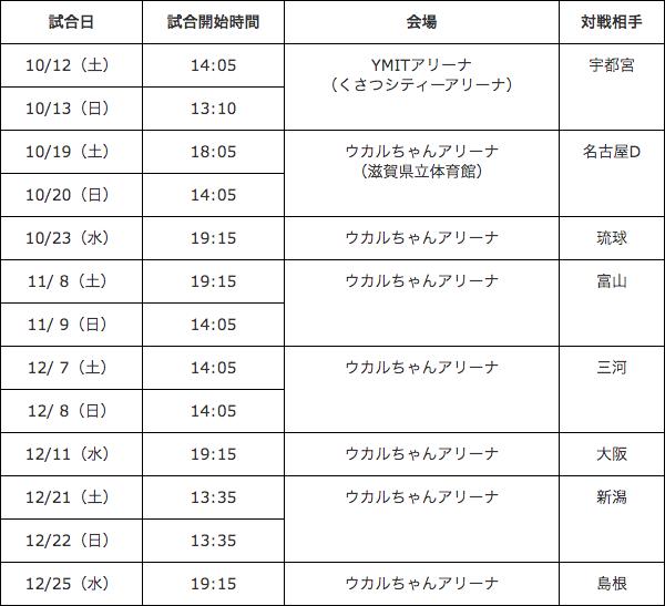 滋賀レイクスターズ試合スケジュール表