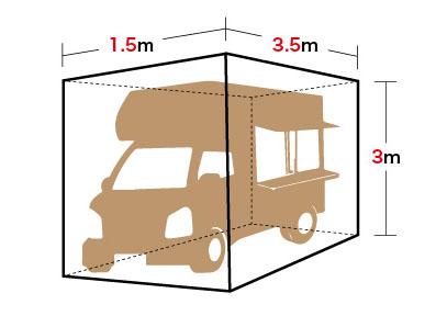 横1.5m ×縦3m × 奥行き3.5m
